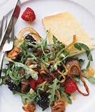 Warm Chanterelle Salad with Onions, Summer Berries and White Cheddar Toast