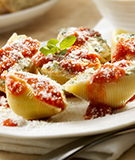 Spinach Stuffed Shells with Two Sauces