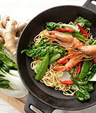 Stir Fry with Baby Boy Choy, Snow Peas, and Shrimp