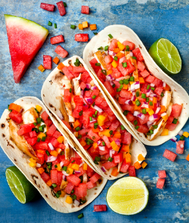 Spicy-Marinated Chicken Tacos With Watermelon Salsa
