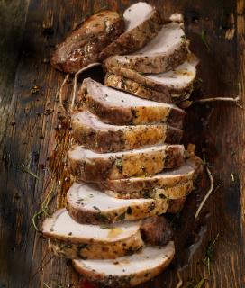Brined Pork Loin with Molasses-Mustard Glaze